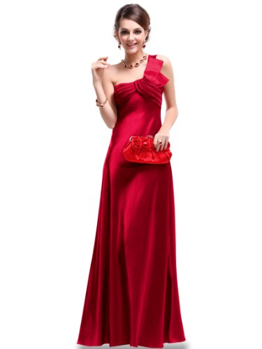 Ever Pretty NWT Open Back One Shoulder Ruffles Padded Satin Prom Dress 09667