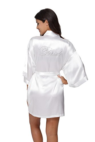 TheBund Women's Pure Colour Short Kimono Robes for Bride White Robe S Size