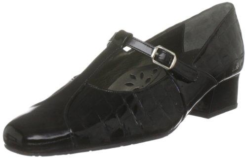 Van Dal Women's Skip Black Pat/Croc T Straps