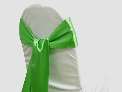 MDS Pack of 25 satin chair sashes bow sash for wedding and Events Supplies Party Decoration chair cover sash -parrot green (Parrot Party Supplies compare prices)
