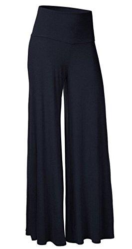 SL Women's Soft Wide Leg Palazzo Pants with High Fold Over Waist Band Dark Blue L