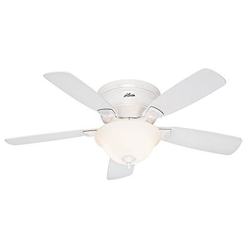 Hunter Fan 52062 Low Profile Plus Ceiling Fan with Five Oak Blades and Cased Glass Light Kit, 48-Inch, White (Ceiling Fan Low Profile White compare prices)