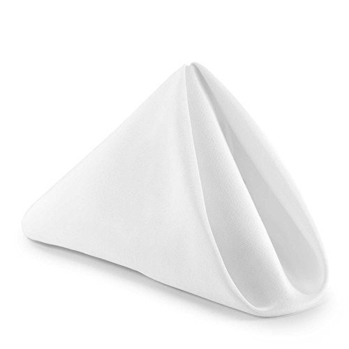 Lann's Linens – 1 Dozen 17 in. Cloth Dinner Napkins w/ Hemmed Edges – White