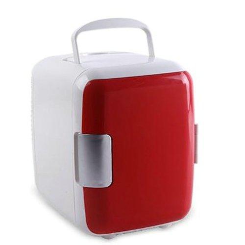 Fast e-m-s Red Portable 4L Car cold box Mini refrigerator car refrigerator Mini Multifunction Hot and Cold refrigerator + a partition + a cable