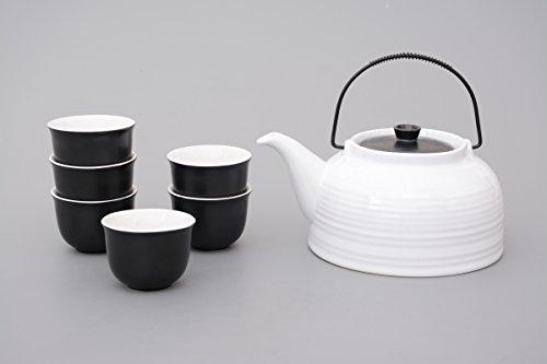 Teeset / Teeservice Nelly 7-teilig mit Stahlsieb (Kanne weiss, Deckel schwarz)