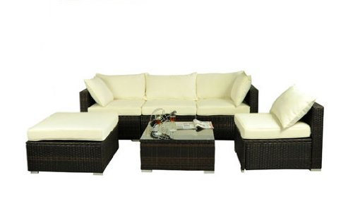 Outsunny 6 pc Deluxe Outdoor Patio PE Rattan Wicker Sofa Sectional Furniture Set
