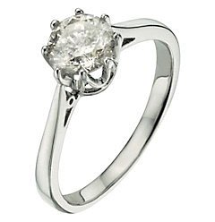 Classical 9 ct White Gold Ladies Solitaire Engagement Diamond Ring Brilliant Cut 1.25 Carat JK-I2 Size L
