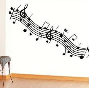 Music, dance classroom bedroom wall stickers musical note black