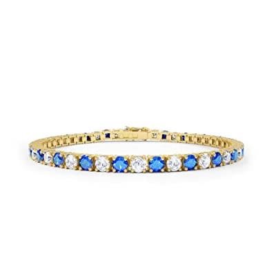 Stardust Sapphire and Diamond Silver Tennis Bracelet (GOLD)