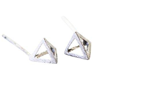 925 Piramide orecchini-Oargento piramide orecchini, argento piramide gioielli, argento piramide forma orecchini, argento piramide forma gioielli, perno orecchino, orecchini per ragazze, arge