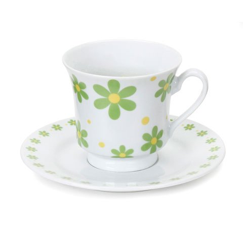 Bulk Buy: Darice Diy Crafts Tea Cup And Saucer Green And Yellow Flower Design (6-Pack) 2013-Fpwg