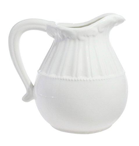 JustNile Beautiful Decorative Classic Vintage Ceramic Pitcher Jug Floral Vase- Short, White (White Ceramic Pitcher Vase compare prices)