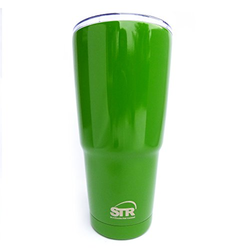 STR Double-Wall Insulated Tumbler|SUPERIOR QUALITY WITH 100% SPLASH PROOF NEW LID |36 HOURS ICE|12 HOURS SCALDING HOT| 30 Oz Travel Mug| Sweat Free| Powder Coated |Custom Colors (Lime Green)