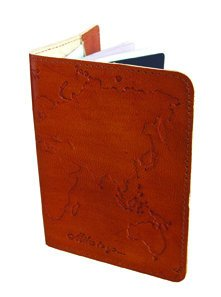 "Fair Trade Cruelty-Free Leather ""World Map"" Passport Cover by Handmade Expressions"