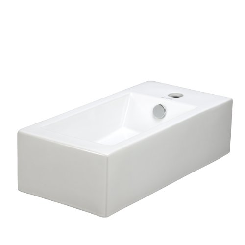Great Deal! Elite Sinks EC9899-L Porcelain Wall-Mounted Rectangle Left-Facing Sink, White