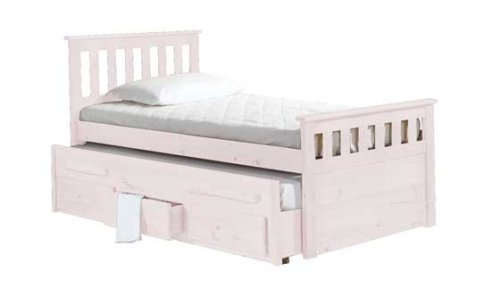 WHITE WASH CAPTAINS BED WITH PULL OUT BED AND 3 STORAGE DRAWERS
