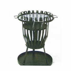 Nightwatchman Metal Fire Basket Brazier With Barbecue Grill