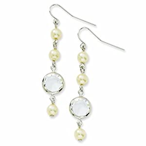 Silver-tone Glass Beads and Crystal Dangle Earrings