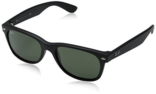 Ray-Ban RB2132 - New Wayfarer Non-Polarized Sunglasses, Black Rubber Frame/Green Lens, 55 mm