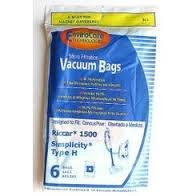 Riccar Simplicity Type H Canister Allergen Paper Bags 6 PK # 811 (Simplicity Prowler Vacuum compare prices)