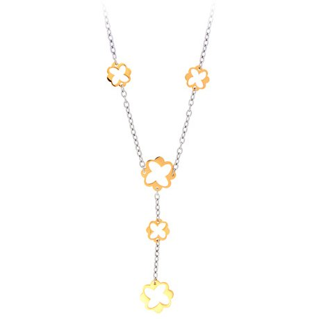 18 Inches - Inox Jewelry Women's Gold Plated Flower 316L Stainless Steel Necklace