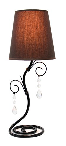 Simple Designs LT2010-BWN Twisted Vine Table Lamp with Brown Shade and Hanging Beads