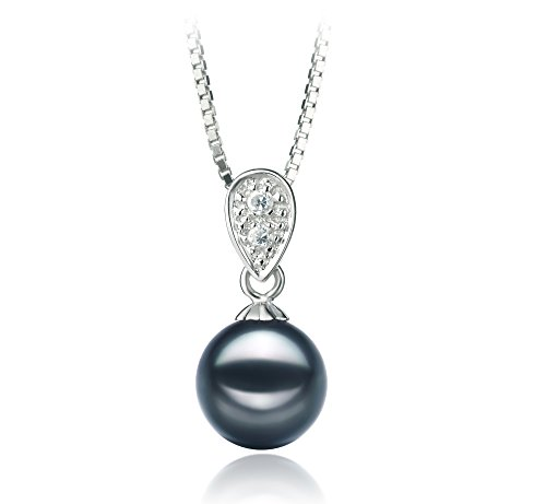 [PearlsOnly - Daria Black 7-8mm AA Quality Japanese Akoya 925 Sterling Silver Cultured Pearl Pendant] (Daria Costume)