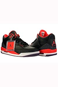 Mens Nike Air Jordan Retro 3 BRED Basketball Shoes Black / Bright Crimson / Purple 136064-005 Size 10.5