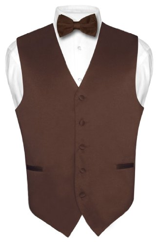 Men's Dress Vest & BowTie Solid CHOCOLATE BROWN Color Bow Tie Set Large Brown Dress Bowties