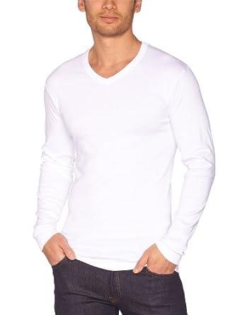 Athena - Coton Bio - T-Shirt - Uni - Homme -Lot de 2 - Blanc - L (taille fabricant : 4)