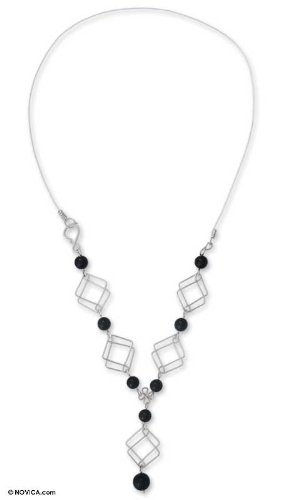 Onyx Y necklace, 'Double Diamond'