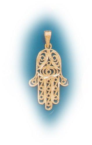 14k Filligry Hamsa (Hand of God) (yellow gold)