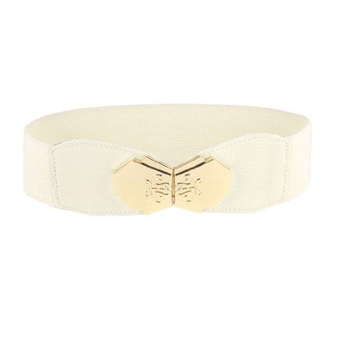 Bowtie Accent Interlock Buckle 6cm Wide Elastic Waist Belt Band Waistband