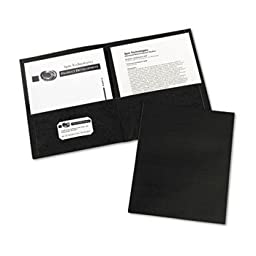 6 Pack Two-Pocket Embossed Paper Portfolio, 30-Sheet Capacity, Black, 25/Box by AVERY-DENNISON (Catalog Category: Binders & Binding Supplies / Report Covers / Pocket Portfolios)