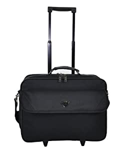 """Aerolite® Black Lightweight and Tough Wheeled Cabin Size Luggage Laptop Trolley Bag, Dimensions: 15"""" (43.5 x 36 x 20 cm (all parts included) Weight: 2.37Kg, capacity 23L) & 18"""" 38x46x20CM (All Parts included) 36L 1.80Kg, 17"""" 44x33x18 CM 26L 0.95KG"""
