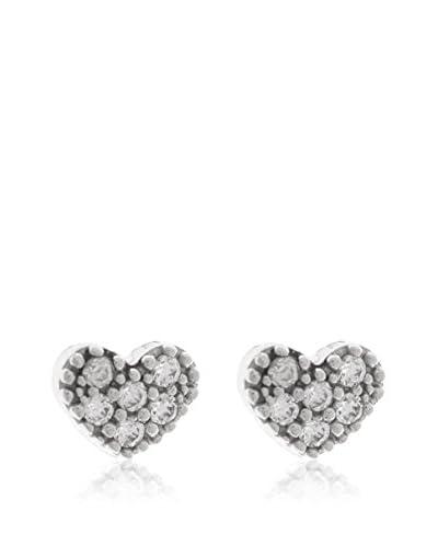 Gold & Diamonds Pendientes Corazon Plateado