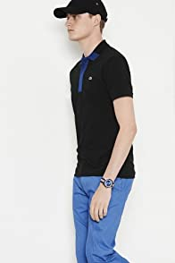 Tall Short Sleeve Hidden Placket Color Block Mini Pique Polo