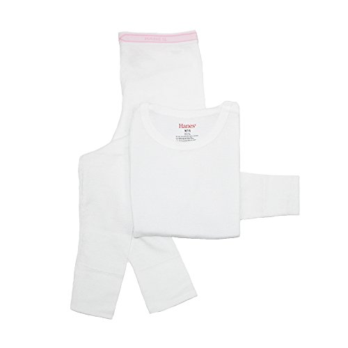 Hanes Big Girls' Thermal Underwear Set, White, Medium/7-8 (Thermal Girls compare prices)