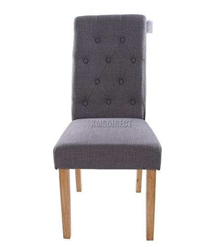 Foxhunter Furniture Set Of 4 Premium Grey Linen Fabric