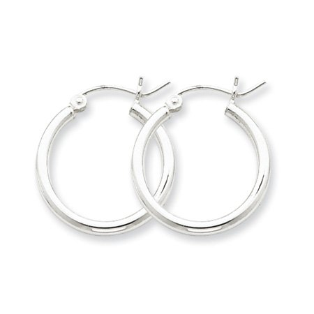 2mm, Silver, Classic Hoop Earrings - 20mm (3/4