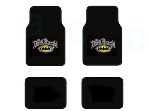 A Set Of 4 Batman The Dark Kinight Universal Fit Plush Carpet Floor Mats For Cars / Trucks And One Batman Black Emblem In Silver Reflector Sure Grip Steering Wheel Cover front-625204