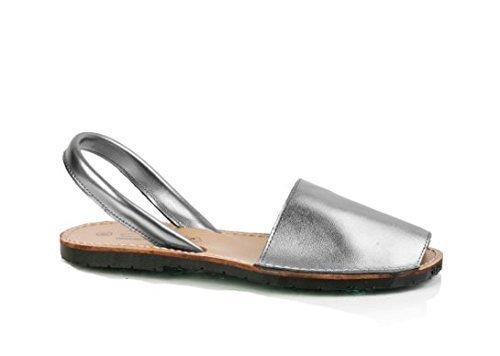 Conbuenpie190 - Avarca-Menorquina donna , (Metal silver), 36 EU