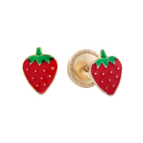 14k Yellow Gold Strawberry Enamel Baby Earrings