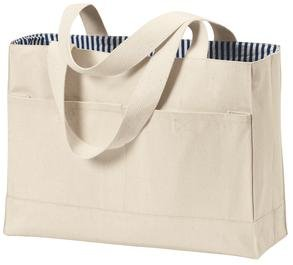 Double Pocket Canvas Tote, Natural