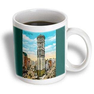 3Drose Times Building New York City Street Scene Postcard Reproduction Ceramic Mug, 15-Ounce
