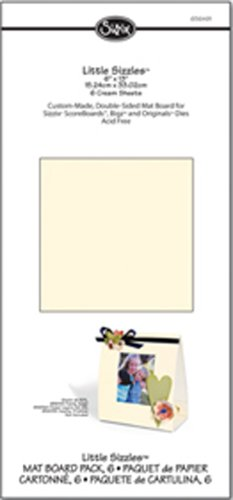 "Sizzix Little Sizzles - 6"" X 13"" Mat Board Pack, 6 Cream Sheets"