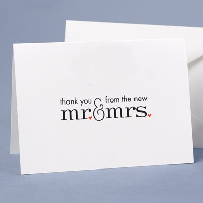 Mr. & Mrs. Thank You Cards and Envelopes - Pack