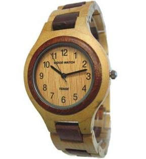 Tense Wood Watch - Solid Maple and Sandalwood Mens Round Bracelet Watch Hypo-Allergenic Unique G7509MS