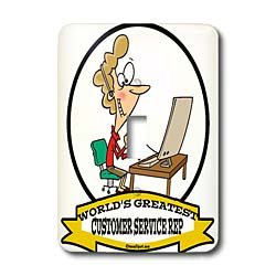 Dooni Designs Worlds Greatest Cartoons - Funny Worlds Greatest Customer Service Rep Occupation Job Cartoon - Light Switch Covers - single toggle switch