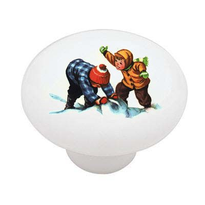 Vintage Christmas Children at Play Decorative High Gloss Ceramic Drawer Knob